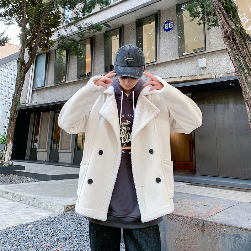 2019 UYUK invierno moda estilo piel corta integrado cálido hombre joven Color Puro Cordero lana abrigo Homme Masculino ropa