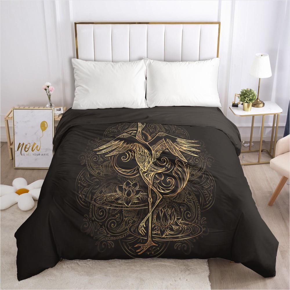 Custom Duvet Cover with Zipper Comforter/Quilt/Blanket Case Queen/King 240x220 260x220 155x220 3D Bedding Red-crowned crane