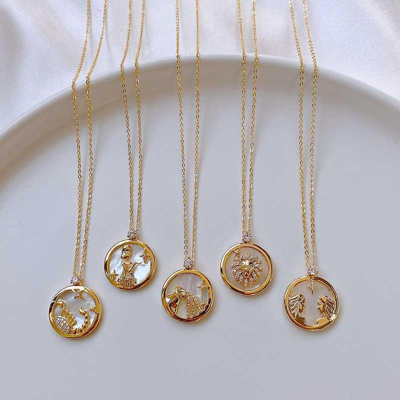 Design Feeling Lucky 12 Constellation Necklace Fashion Women Jewelry Sexy Elegant Short Necklace Christmas Gift Clavicle Chain