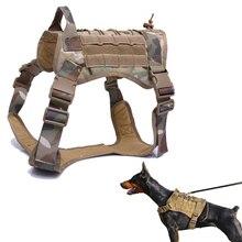 Chaleco táctico de servicio para perro, ropa transpirable para perro militar, arnés K9, tamaño ajustable, entrenamiento, caza, arnés táctico para perro Molle