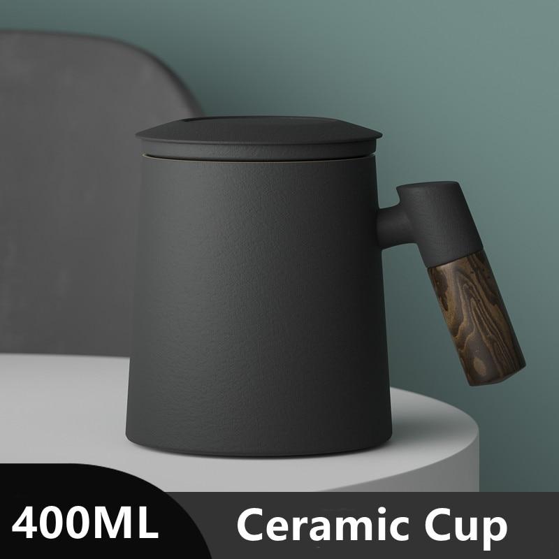кружка для чая Керамическая кружка с ручкой и фильтром, 400 мл