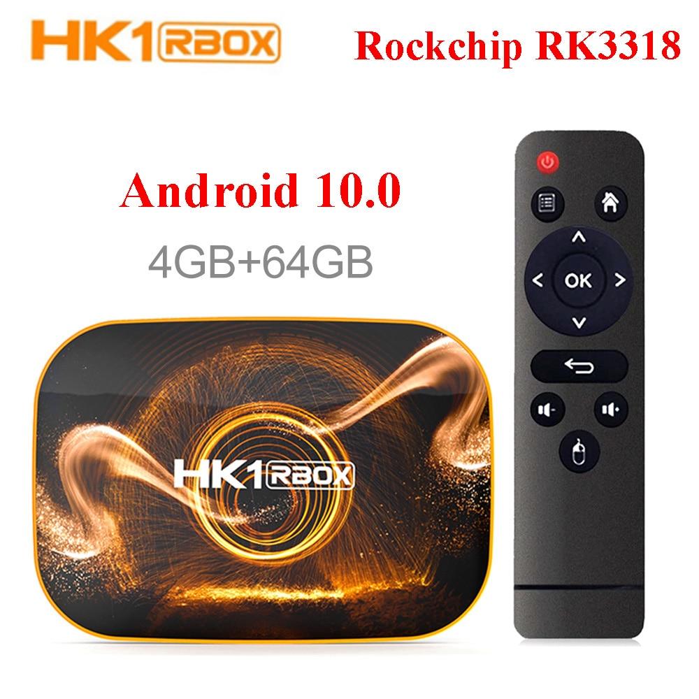 HK1 RBOX Dispositivo de TV inteligente Android 10 4GB 32GB Rockchip RK3318 1080P H.265 5G Wifi 4K reproductor de Google tienda de Netflix, Youtube Set Top Box