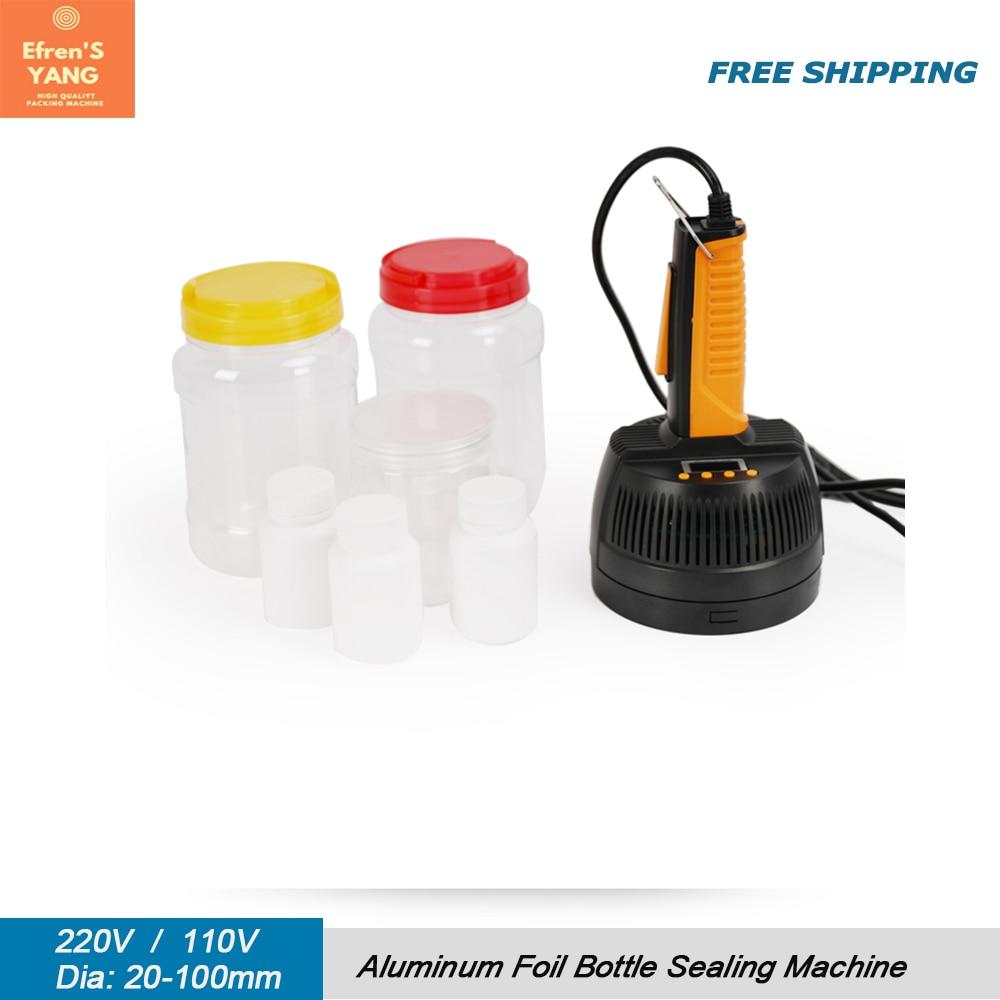 باليد الكهرومغناطيسية التعريفي السدادة 20-100 مللي متر ماكينة ختم الزجاجات الألومنيوم احباط الطبية البلاستيك السد آلة السدادة