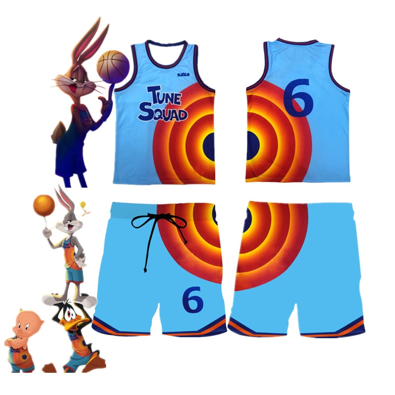 Movie Space Jam 2 Kids Jersey Vest Shirt Shorts Cosplay James Tune Squad Suit Summer Boys Girls Fash