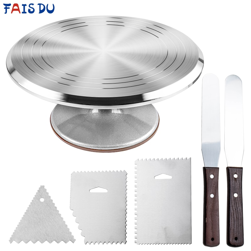 aliexpress.com - 6Pcs/set Turntable Cake Decoration Accessories Set Rotating Cake Stand Tools Metal Stainless Steel Pastry Spatula Scraper