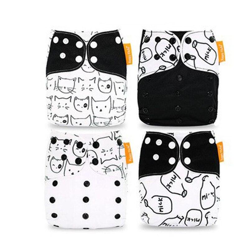 4pcs/Lot Reusable Cloth Diaper Adjustable Newborn Nappies Washable Nappy Baby Waterproof Diaper Training Pants Fit 3-15 kg