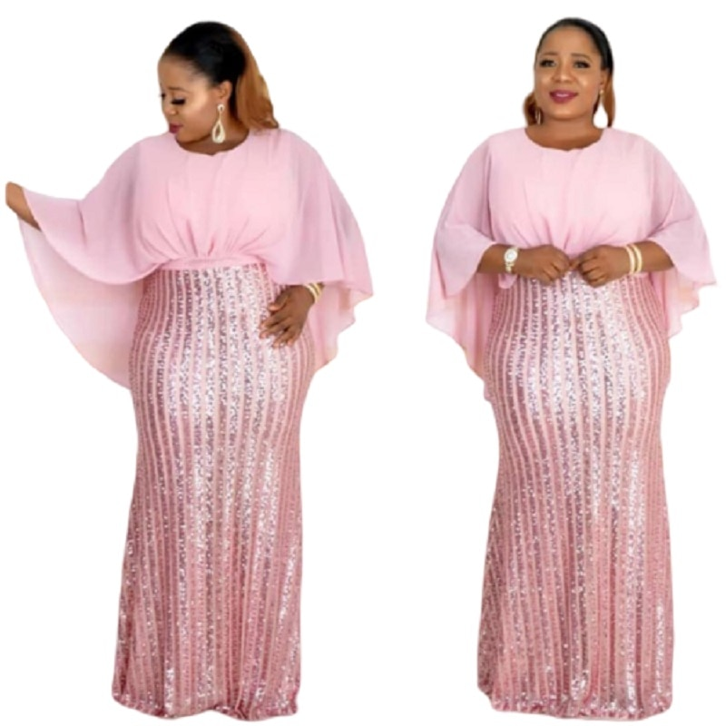 2019 autumn sexy fashion style african women o-neck sequined plus size long dress L-3XL
