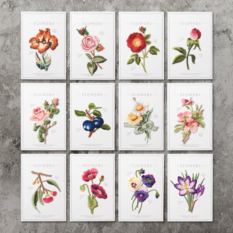Цветы и растения вышивка для одежды накладные наклейки универсальные для украшения джинсов декоративные элементы для ремонта аппликация значок