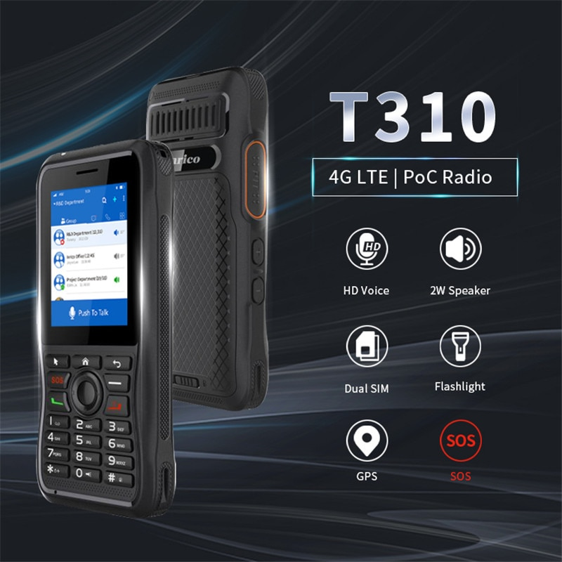 Inrico T310 Zello android Mobile talk radio GPS SOS Network portable radio Touch Screen long distance walkie talkie phone 100 km