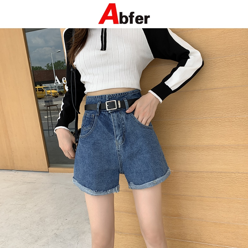 Abfer High Waist Cuffed Large Size Summer Jean Shorts Loose Spring high waisted jeans streetwear vintage denim flare jeans