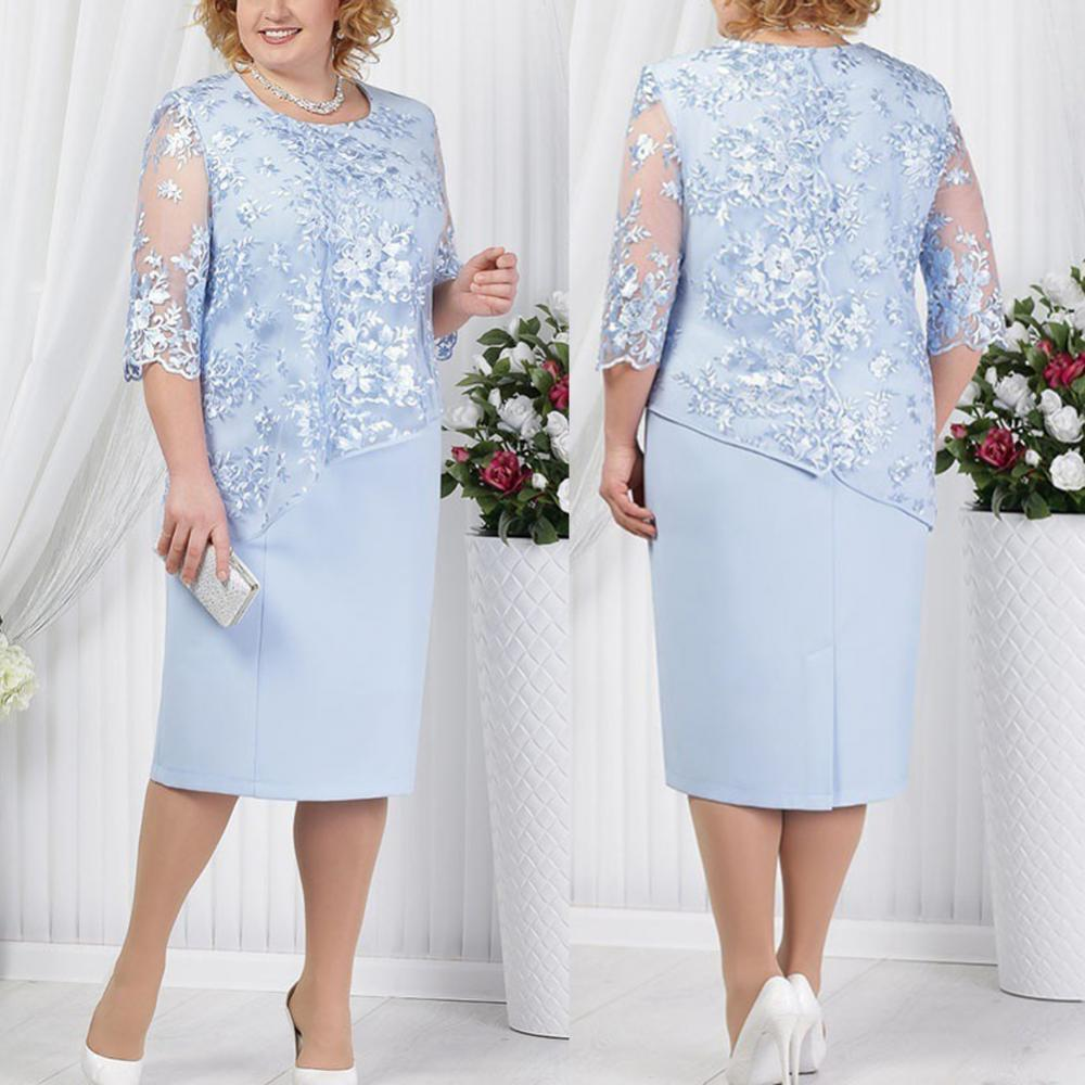 80% Hot Sale Plus Size Party Sheer Half SleeveFloral Lace Layered Mother of Bride Midi Dress