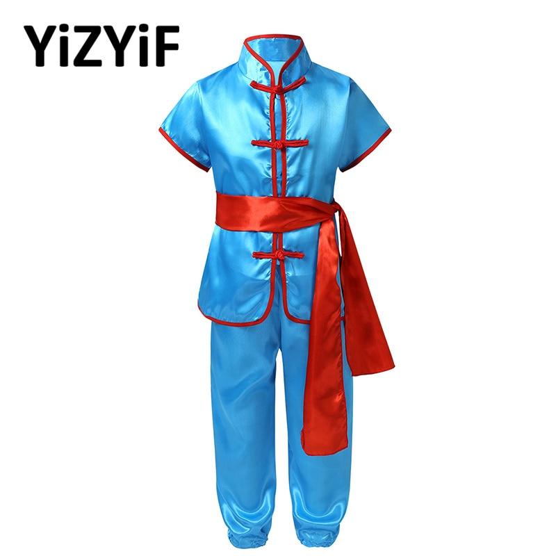 Унисекс, Детские Атласные Костюмы кунг фу, униформа для боевых искусств, костюм Ушу, детская традиционная китайская одежда, костюм кунг фу для детей| | | АлиЭкспресс