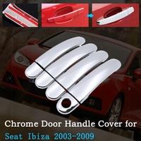 Chrome Car Door Handle Cover for Seat Ibiza MK3 6L 2003~2009 Car Covering Trim Set Exterior Accessories 2004 2005 2006 2007 2008