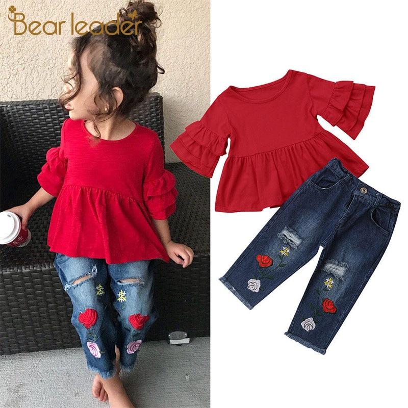 Conjuntos de ropa Casual de verano a la moda de Bear Leader, camisetas rojas de manga de pétalo para bebés de 1 a 6 años, pantalones con estampado Floral