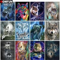 HOMFUN     peinture diamant theme  Animal wolf   broderie complete 5D  perles rondes ou carrees  points de croix  decoration dinterieur  cadeau  a bricolage soi-meme  BK001