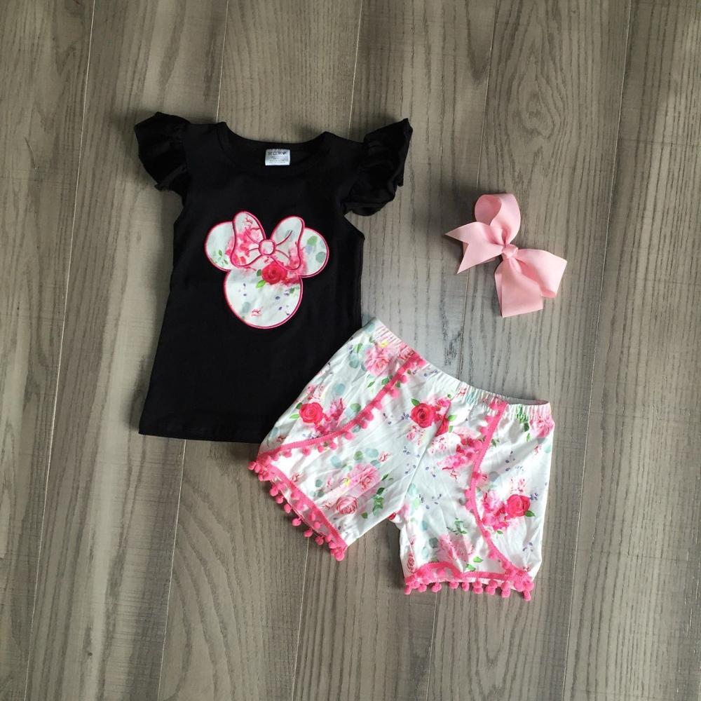 Conjuntos para niñas bebés, Ropa para Niñas, camisetas negras con estampado de ratón y pantalones cortos florales de color coral, conjuntos de verano para niños con lazo