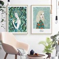 Nordique abstrait fleur femmes toile peinture plantes vertes mur Art affiche et imprimer moderne mode fille chambre decor a la maison
