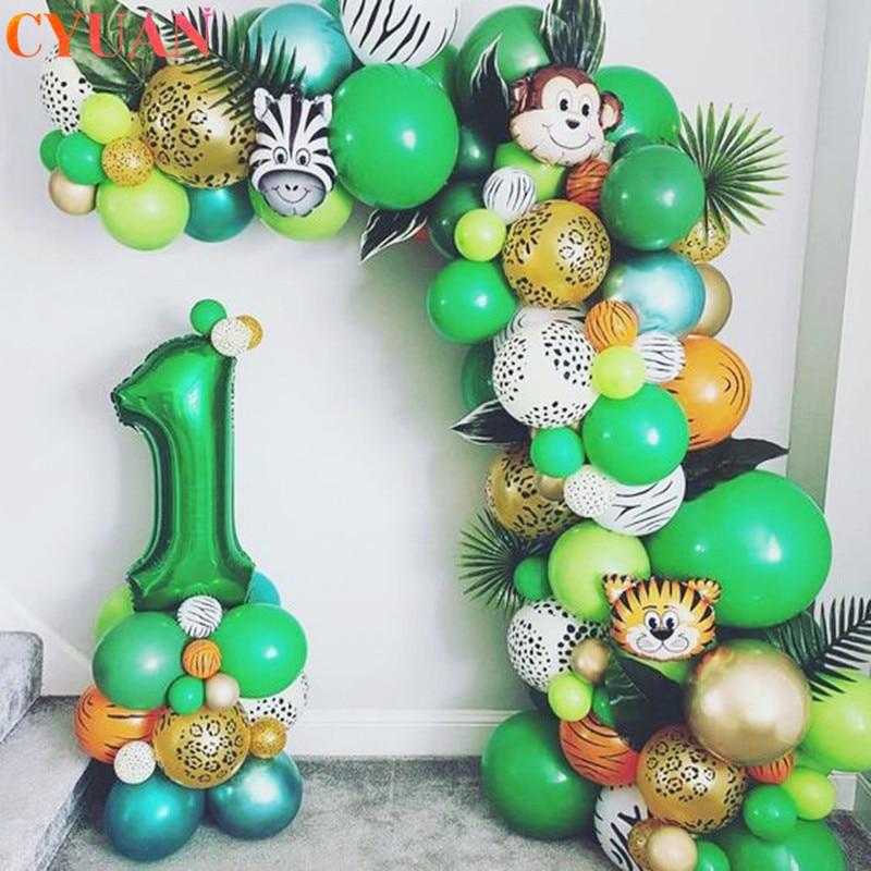 109pcs Palm Leaf Animal Balloons Garland Arch Kit Jungle Safari Party Supplies Favors Kids Birthday Party Baby Shower Boy Decor
