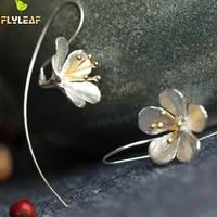 925 sterling silver flower long tassel earrings for women thai process elegant lady sterling silver jewelry free shipping