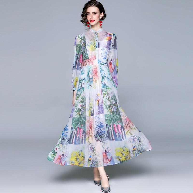 ZUOMAN Women Spring Elegant Chiffon Dress Shirt High Quality Long Maxi Floral Party Robe Femme New D