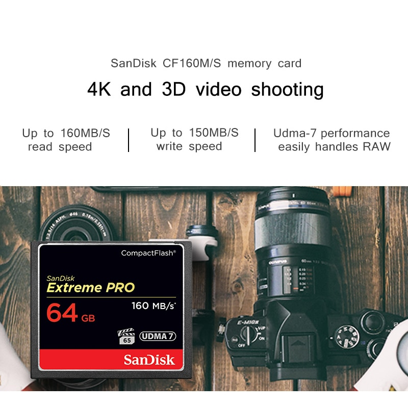 SanDisk Compact Flash CF Card 64GB 256GB 32GB 128GB UDMA7 VPG20 160MB/S Extreme Pro CompactFlash Memory Card For Camera 4k Video enlarge