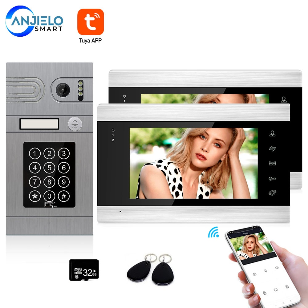 Tuya Smart App Remote Control WiFi Video Door Phone Intercom Access Control System Motion Detection With Code Keypad/RFID Card