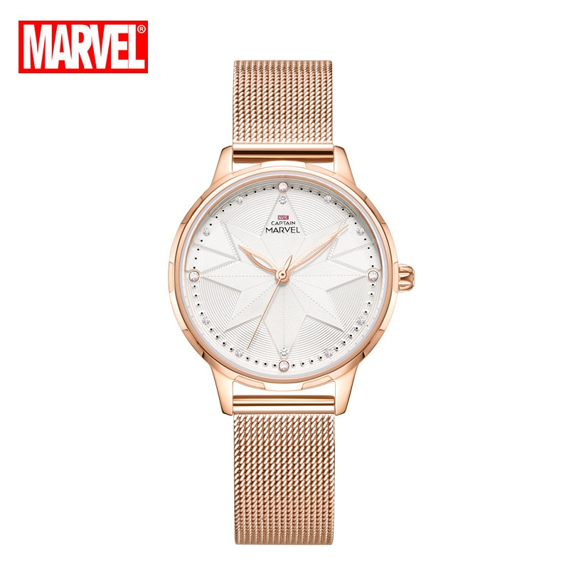 Original Marvel Captain Marvel Lady Quartz New Belt Mesh Belt Casual Personality Watch Ladies Watch Gold Watch enlarge