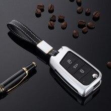 Полый чехол из алюминиевого сплава для ключа дистанционного управления, корпус для ключа, рамка для VW MK7, Volkswagen Golf 7, Skoda, 3 кнопки, складные ключи