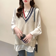 2021 Spring New Korean Style Fashion V-neck Patchwork Pullover Bottoming Sleeveless Vest Sweater Wom