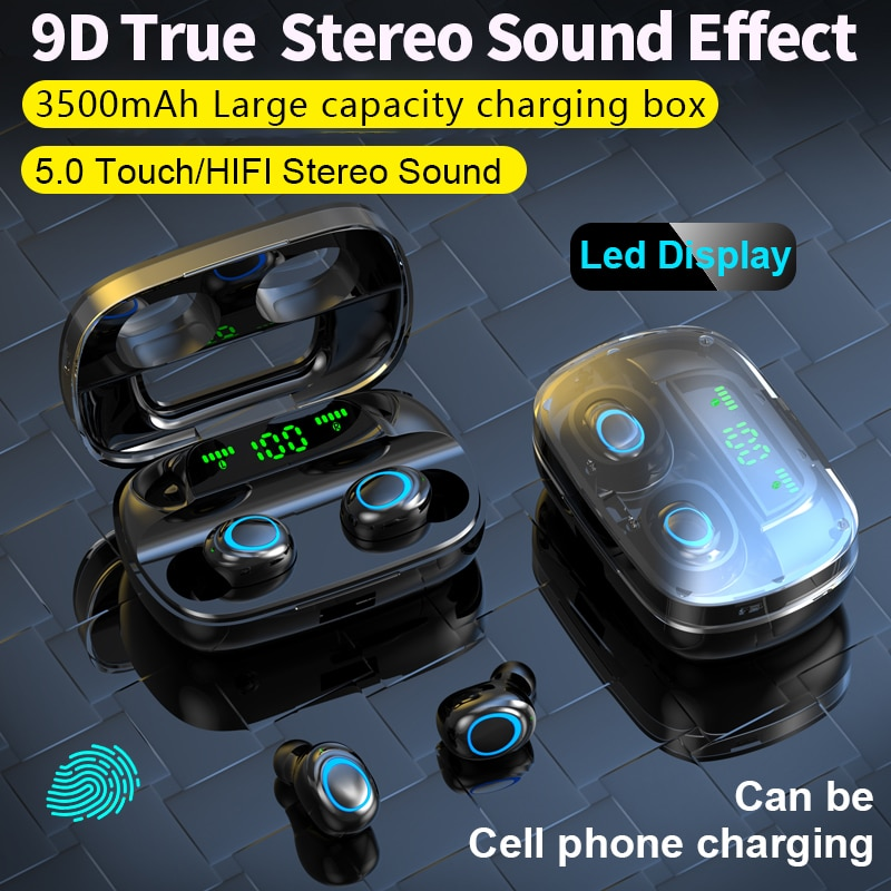 S11 TWS Bluetooth 5.0 Earphones 3500mAh Charging Box LED Display Sports Waterproof Earbuds Touch Noi