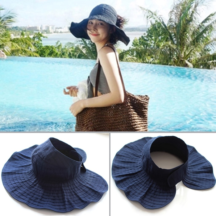 Sun Hat Women's Summer Sun Protection Hat Travel All-Matching Folding Casual Korean Style Roll Air T