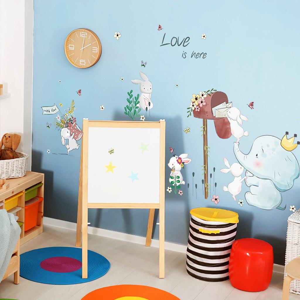 Pegatina de papel tapiz, feliz extraíble, impermeable, pegatinas de pared de dibujos animados, amor, animal, decoración para niños, papel tapiz para sala de estar L0927