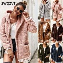 Cardigan fleece jacket women autumn winter hooded basic ladies jackets 2019 warm pink thick women fur coat outwear clothes DR835