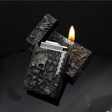 Fashion Zombie Relief Lighter Sharp PING Sound Grinding Wheel Cigarette Lighter Men Metal Gas Butane Flame Lighter Smoker Gift