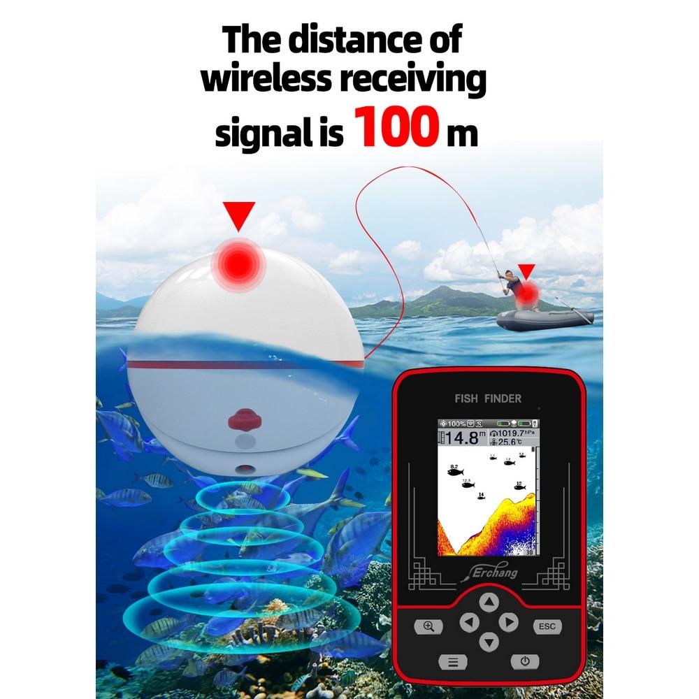 Rechargeable Wireless Sonar Fish Finder 60M Water Depth Air Pressure Detection Sonar Fishing Finder Fish Detector Depth Locator enlarge