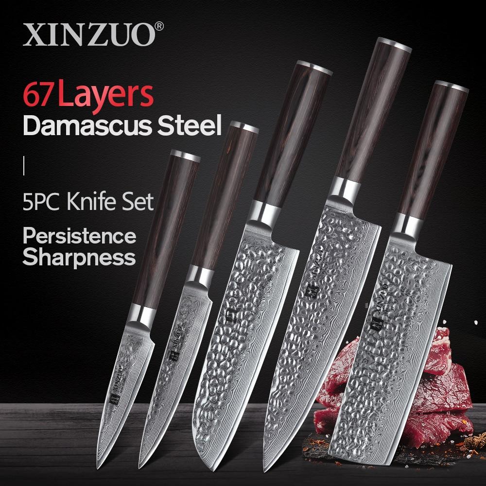 XINZUO 5 قطعة مجموعة سكاكين المطبخ VG10 دمشق الفولاذ المقاوم للصدأ شارب الشيف سانتوكو ناكيري تقطيع سكين التقشير Pakkawood مقبض