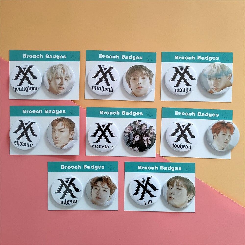 2 unids/set Kpop Monsta X broche nuevo álbum insignia HD impresión fotográfica MONSTA X Kpop alta calidad nuevas llegadas