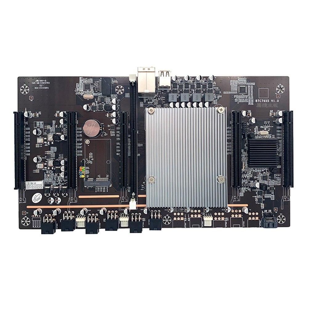 BTC-X79 X5 المزدوج وحدة المعالجة المركزية التعدين اللوحة الألغام مجلس 5-بطاقة متعددة الرسومات فتحة كبيرة تباعد سريعة بدء التعدين مجلس