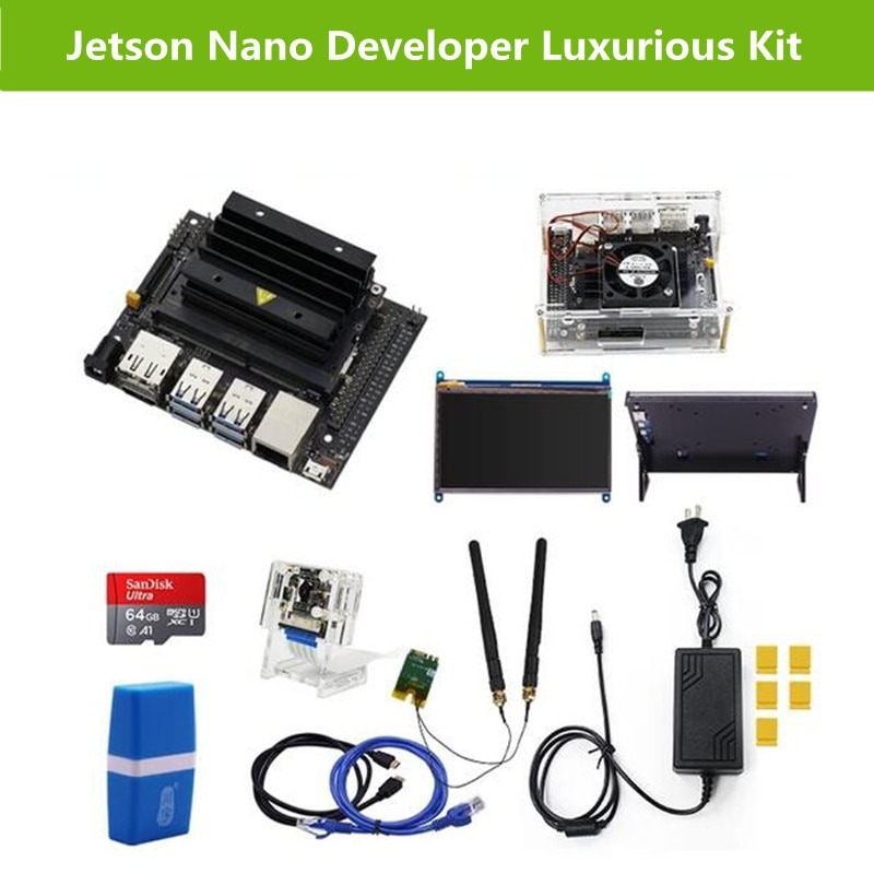 Jetson Nano B01 Board AI Developer Luxurious Kit with 64G SD Card IMX219 Camera 7 Inch Display and Wireless Network Card