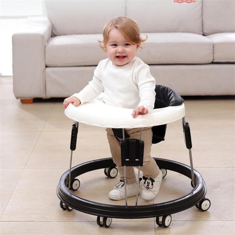 مشاية للأطفال مع عجلة الأولاد طفل المشي التعلم مكافحة التمديد طوي فتاة عجلة ووكر متعددة الوظائف مقعد سيارة الطفل يدفع باليد