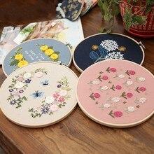 Europe bricolage ruban fleurs broderie ensemble avec cadre pour débutant Kits de couture point de croix série artisanat couture décor