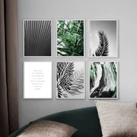 black white plant palm cycad fluid art wall art canvas painting nordic posters and prints wall pictures for living room decor