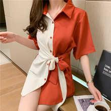 Новинка лета 2021, цветная контрастная Лоскутная рубашка в Корейском стиле с завязкой на талии и коротким рукавом, Женская нишевая Дизайнерск...