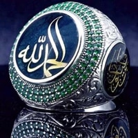 new trendy bohemian green crystal inlaid ring mens ring muslim rune lucky stone metal silver plated ring accessories jewelry