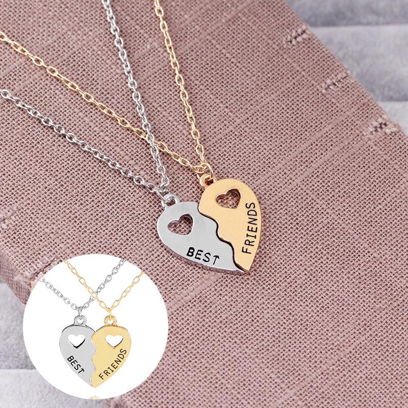 Exquisita amistad de chicas con forma de corazón hueco a juego COLLAR COLGANTE gargantilla cadena de moda joyería regalo para mujeres