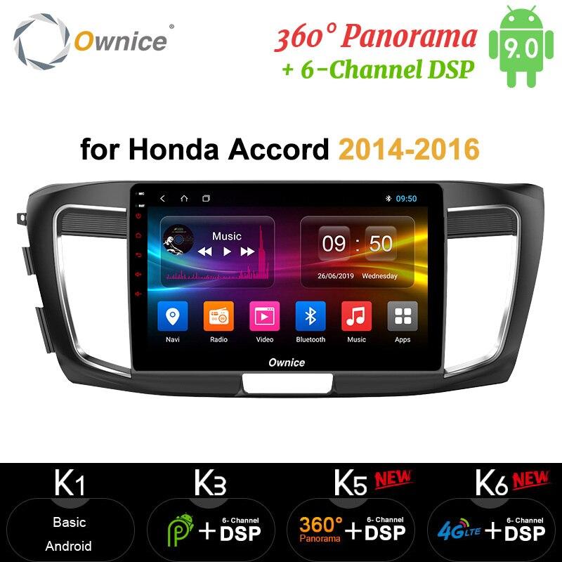 "Ownice 10,1 ""Android 9,0 coche Radio video Player GPS Navi mapa DVR 4G LTE 360 Panorama DSP SPDIF para HONDA Accord 9 2014 de 2015 de 2016"