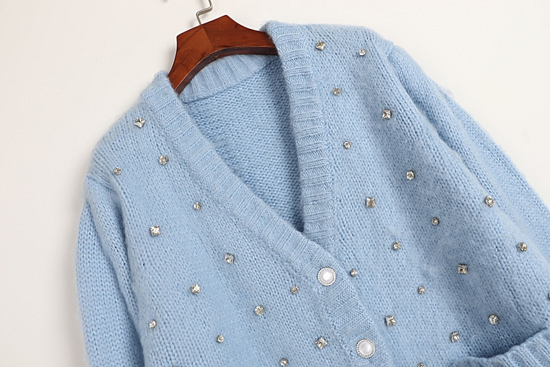 Knit Sweaters Women Cardigan  Sweater Top Blue White Beads Long Sleeve Casual Sweater enlarge