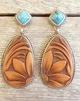 antique jewelry design 925 sterling silver natural turquoise gemstone earrings fashion brown sun flower earrings jewelry
