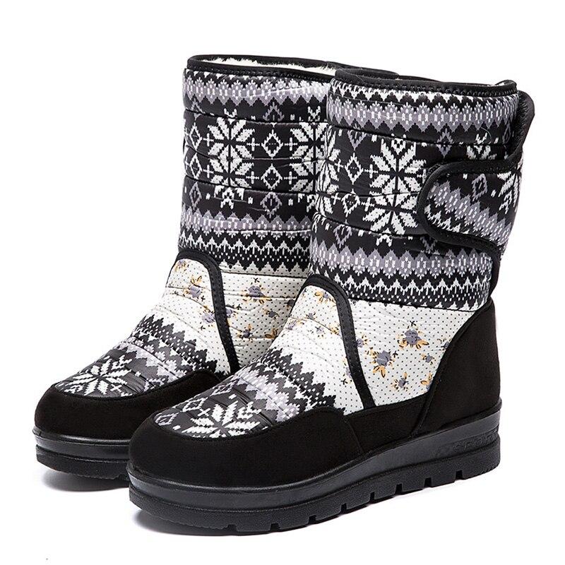 Nuevas botas de nieve de felpa caliente botas de media pantorrilla botas de invierno de mujer botas de plataforma zapatos de mujer Botines de talla grande 41 envío gratis