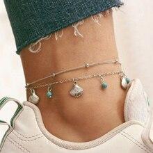 Coquillage perles bracelets de cheville bohème plage chaîne de cheville pour femmes Vintage Double couche cheville jambe Bracelet été pied bijoux 2 pièces/ensemble